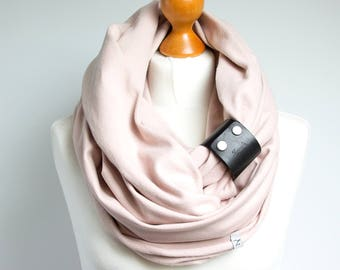 Infinity Scarf with leather strap, pastel colours infinity scarf with strap, gift ideas, cotton scarf, chunky scarf
