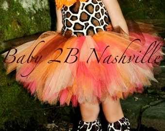 Safari Giraffe Costume With Leggings,  Birthday Tutu  Pageant Outfit of Choice,  Orange GiraffeTutu Baby - Girls 8