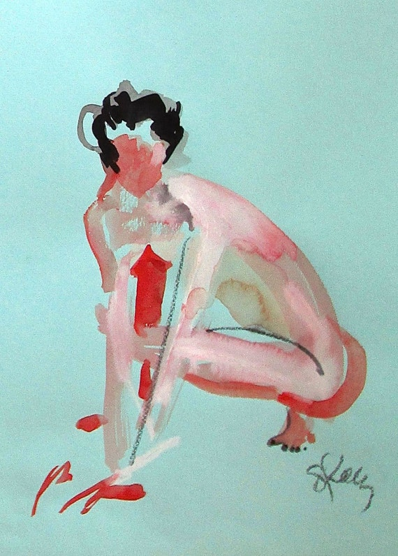 Nude painting of One minute pose 90.6  Original painting by Gretchen Kelly