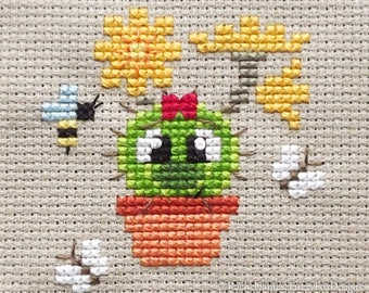 Blossom the Baby Barrel Cactus Cross Stitch Pattern PDF | Prickly but Cute Stitch-a-Long | Easy | Modern | Beginners Counted Cross Stitch