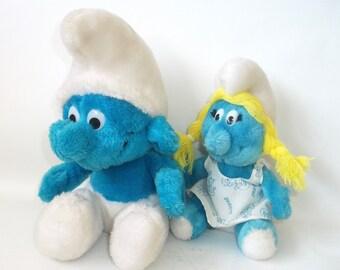 Vintage Smurf and Smurfette Peyo Plush Toy Doll