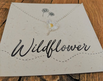 Wildflower Necklace// Sterling Silver// Daisy Necklace// Silver Flower Necklace