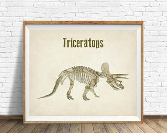 Dinosaur Print, Triceratops Print Dinosaur Skeleton Print Dinosaur Art Gifts for Boys Room Decor Man Cave #vi871