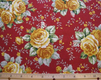 Roses 100% Cotton Fabric Quilting Weight Red Yellow RJR Fabrics By The Yard