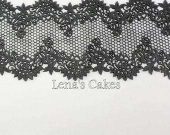 BLACK Edible Cake Lace Sugar Strips, Steampunk Wedding Cake, Burlesque Party Decor, Elegant Black Lace, Gatsby Wedding Decor, 30 Birthday 40