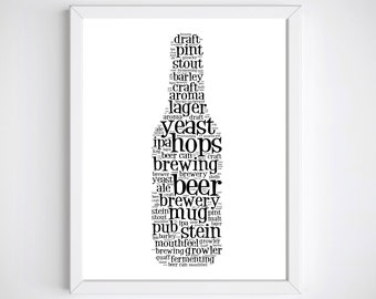 Beer Lover Gift Craft Beer Groomsmen Gift Beer Gift Beer Art Beer Gifts for Men Beer Lover Beer Wall Art Beer Print Man Cave Decor Beer