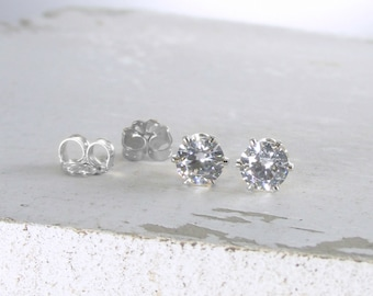 April Birthstone Earrings Silver Stud Earrings Cubic Zirconia Earrings Post Earrings Birthstone Jewelry Stud Earring Holiday Gift For Her