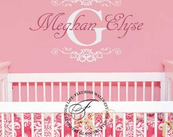 Girls Room Decal With Shabby Chic Hearts Frame Personalized Name And Initial Decal for Baby Girl Nursery Vinyl Wall Art GN024
