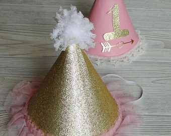 Baby Birthday Pink Gold Birthday Hat