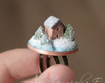 House ring - Winter ring - Landscape ring - Polymer clay miniature - Snow ring - Tiny house - Sweet House - Little House ring - micro house