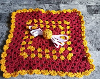 Baby lovey: golden winged ball wizard house colors inspired afghan blanket