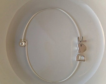 LOVE Tiny Silver Letter & Heart Bangle Bracelet, initial  bridal jewelry, Initial bangle in silver