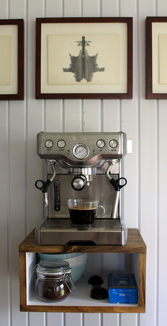 Good Floating Espress Machine Shelf / Stand / Cabinet // Coffee Machine Small  Appliance Shelf // Console // Walnut