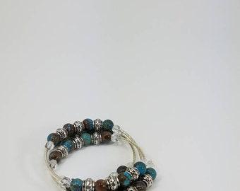 Blue & Brown Wrap Bracelet
