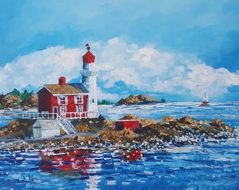 Fisgard Lighthouse, Fort Rodd Hill, Victoria BC - PRINT of Original Acrylic Painting - Peggies by Steph