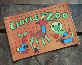 Vintage Unused Saalfield Activity Coloring Book - Circle Zoo