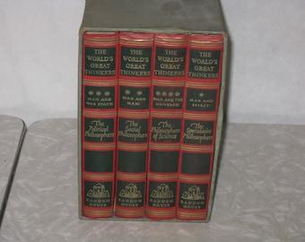 Set of 4 vintage hardcover books The Worlds Great Thinkers philosophy 1947 Random House Oscar Ogg