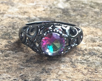 Antiqued Mystic Rainbow Topaz Sterling silver RING Size 7 -  Sterling Silver Ring - Natural Stone Ring - ring size 7 - Boho chic Ring