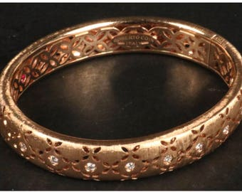 """Roberto Coin Granada Bangle 18k Rose Gold. Approximately 44 grams with 10 diamonds. Inside circumference is 6 1/2"""", approximately 11mm wide."""