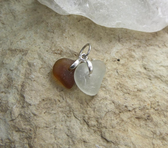 Sea Glass Necklace - French Sea Glass Jewelry - Brown and White Beach Glass - Birthday Gift for Mom - Bonjour Sea Glass by Goofy Moose