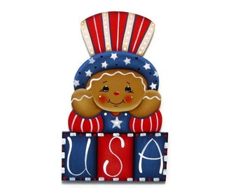 USA Ginger Fridge Magnet, Shelf Sitter, or Ornament, Handpainted Wood Gingerbread Refrigerator Magnet, Hand Painted Americana Ginger