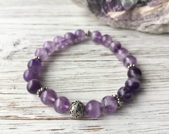 Amethyst Bracelet, Gemstone Bracelet, Natural Stone, Boho Jewelry