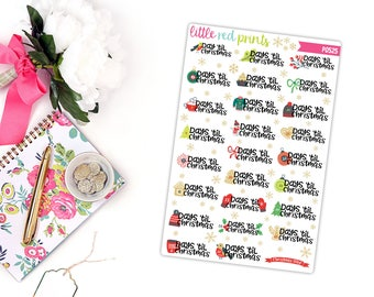 Christmas Countdown Planner Stickers for the Erin Condren Life Planner, Christmas Sticker, Christmas Planner Sticker - [P0525]