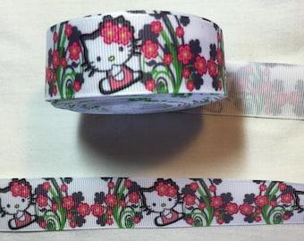 Ribbon grosgrain hello kitty cat and flowers 25 mm customisation