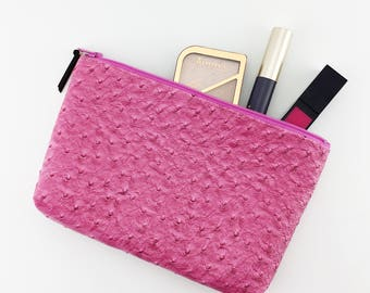 Cosmetics case – makeup pouch – travel cosmetics bag – pink – faux leather – makeup bag – travel makeup bag – small makeup bag