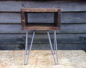 Hairpin leg bedside table / side table - handmade retro unit - ready for immediate dispatch