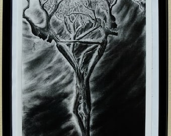 "Original Art Print,""Torn and Divided"",Sinister,Tree People,Gothic Art,Black and White Art Prints,Creepy Charcoal Drawings,Art Prints"