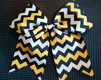 Black Yellow and White Chevron Bow