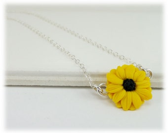 Tiny Black Eyed Susan Necklace - Black Eyed Susan Jewelry , Yellow Coneflower