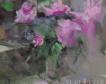 Small Painting, Floral Still Life Painting, Flowers Oil Painting, Canvas Art, Pink Peonies Painting