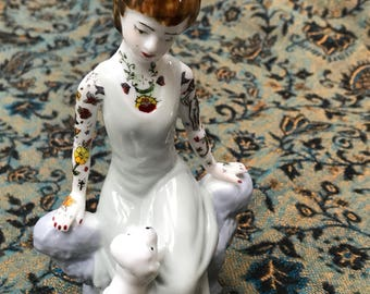 Handpainted vintage china tattooed figurine
