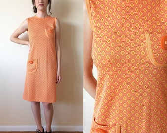 Orange and Yellow Circle Late 60s Pocket Dress