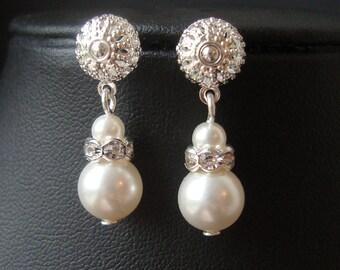 Pearl and Rhinestone Dangle Bridal Earrings, Modern Vintage Pearl Wedding Bridal Earrings, Ivory White Pearl Bridesmaid Earrings, Kate