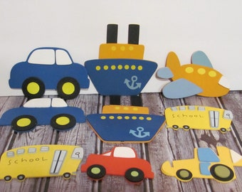 Nine  Vehicles Wooden Cut-Outs