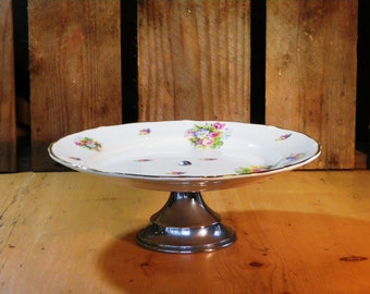 Art Deco Cake Stand with pretty floral plate on chromed base 1930s midwinter