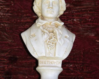 Plaster Bust, Head, Figure Ornament of German Classical Music Composer Ludwig Van Beethoven