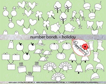 Number Bonds Holiday Clipart Set - (300 dpi) School Teacher Clip Art Math Addition Subtraction Multiplication Division