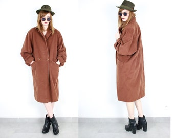 French Vintage 80's Rust Tan Brown long wool coat / Minimalist duster puff boyfriend overcoat oversized 1980s 90s Size Small medium