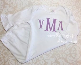 Infant gown, personalized baby gown, monogram infant gown, monogram baby gown, newborn gown, baby shower gift, baby sleeper, baby girl gift