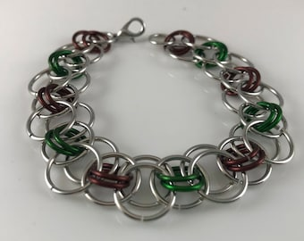 Sale 25% off Brown Green and Silver Helm Chain Chainmaille Bracelet