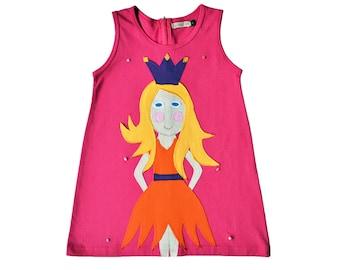 Girl's Dress, PRINCESS Dress, PRINCESS Clothing, Handmade Clothing, Applique Dress, Applique Clothing, Pink Dress, Blonde Princess