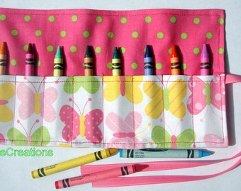Crayon Roll Up Crayon Holder Spring Butterflies  - Holds 8 Crayons