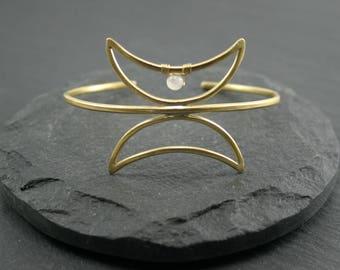 Twin Moon Cuff, Moonstone Cuff, Moon Phase Bracelet, White Bracelet, Adjustable Bracelet, Celestial Jewelry, Brass Cuff, Boho Jewelry