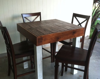 Reclaimed Wood Dining Table, Upcycled, Pub Size Pallet Wood Table, Louisiana