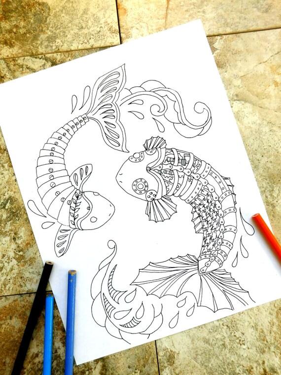 Steampunk peces koi colorear página páginas para colorear