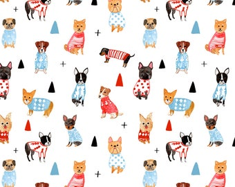 Wrapping Paper Roll, Wrapping Paper Sheets, Dogs in Sweater, Dog Pattern Wrapping Paper, Watercolor Dog Illustrations, Xmas Gift, Made in US